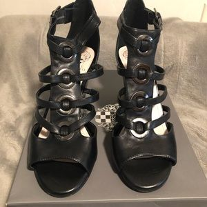 Vince Camino Black leather wedge sandals